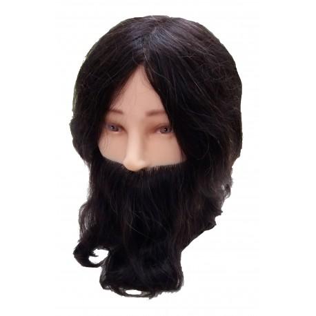 Tête malléable homme avec barbe et moustache