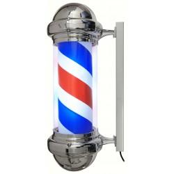 Enseigne de barbier rotative et lumineuse dôme chromé