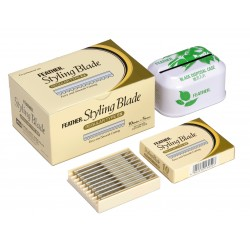 Lames pour rasoir de coiffeur Styling FEATHER par 50 + receptacle