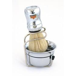 Kit professionnel blaireau poils en soie, bol et support blaireau